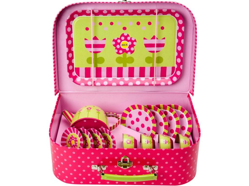 toy tea set in tin case