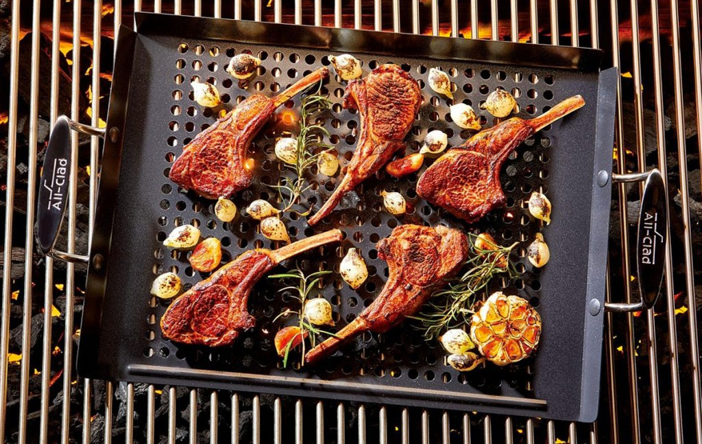 retangular non-stick grill pan on grill with meat and roasted vegetables