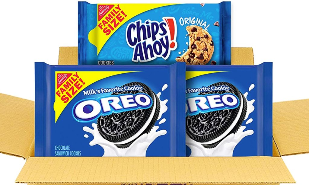 shipping box with family size pack of chips ahoy cookies and two family size oreos