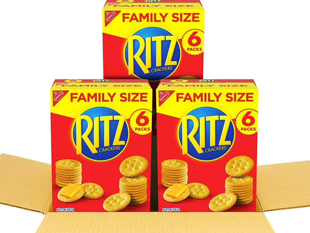 three family size boxes of rtiz crackers in shipping box
