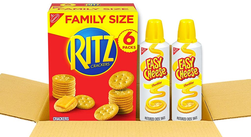 shipping box with family size box of rtiz crackers and two cans of easy cheese spray