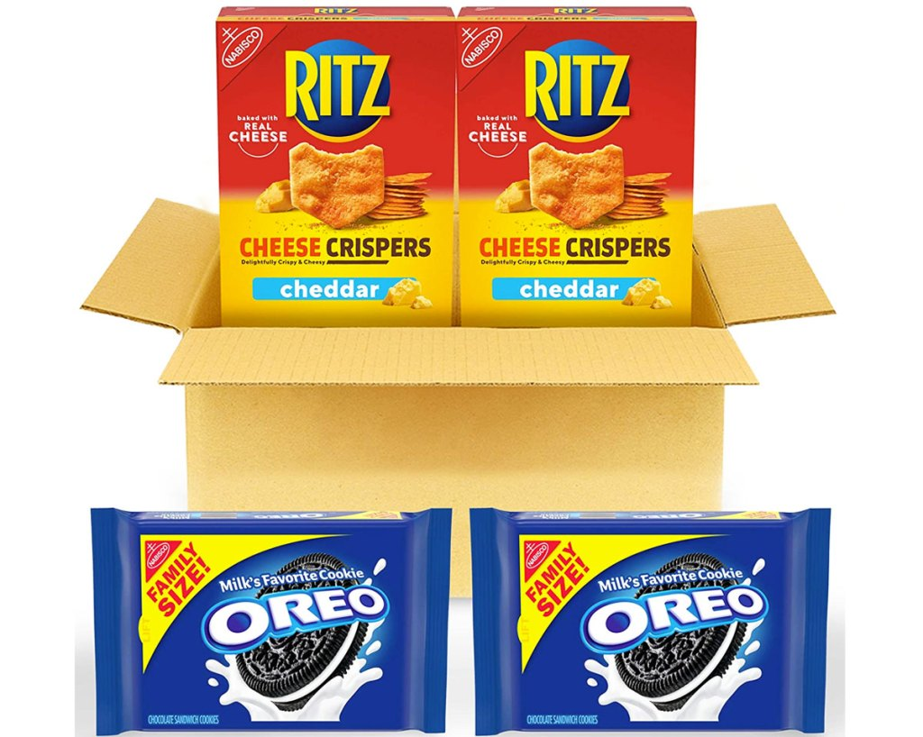 shipping box with two boxes of rtiz crisps and two family size oreo cookies