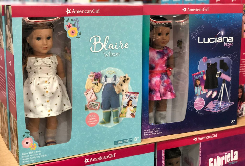 two American Girl doll sets on display at Costco