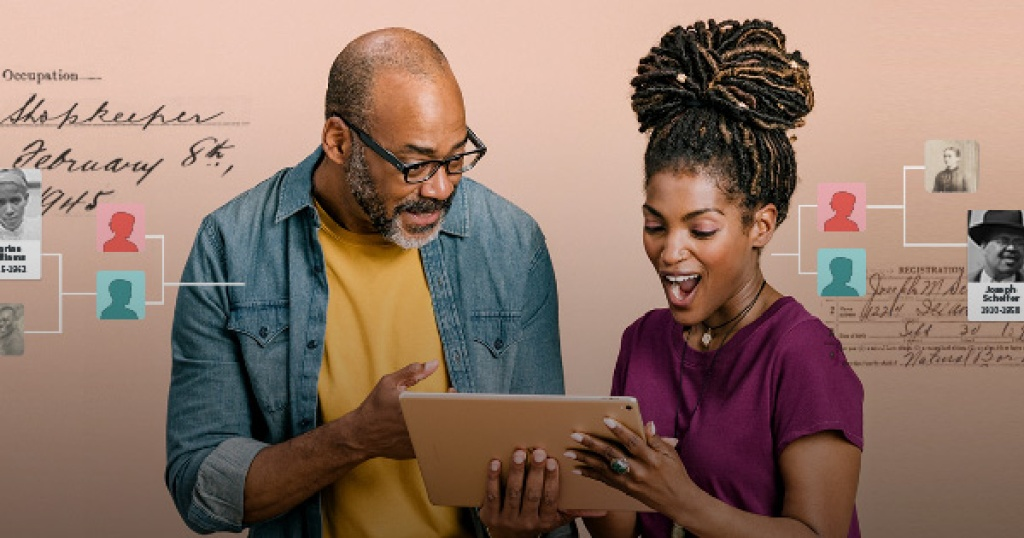 two people looking at tablet excited with ancestry events behind them
