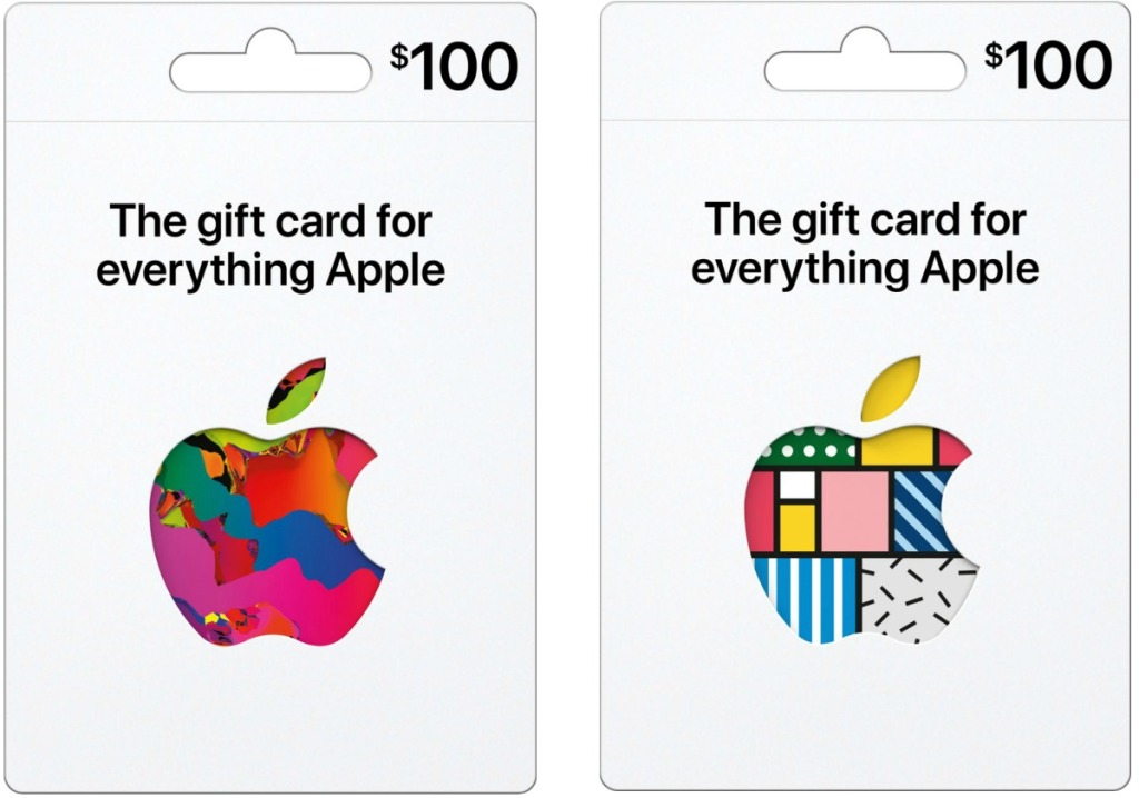 Two styles of Apple Gift Cards in packaging