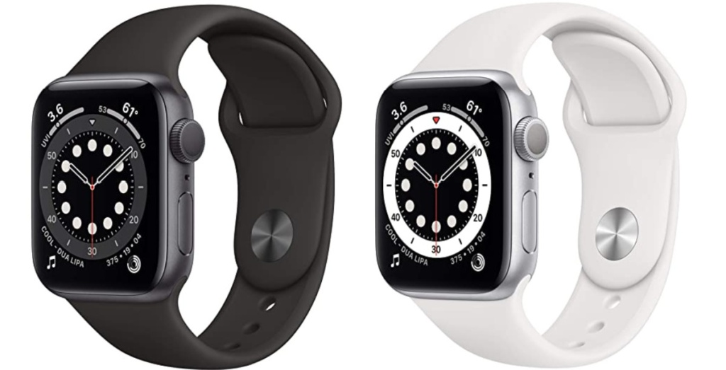 space grey apple watch 6 and and white apple watch 6