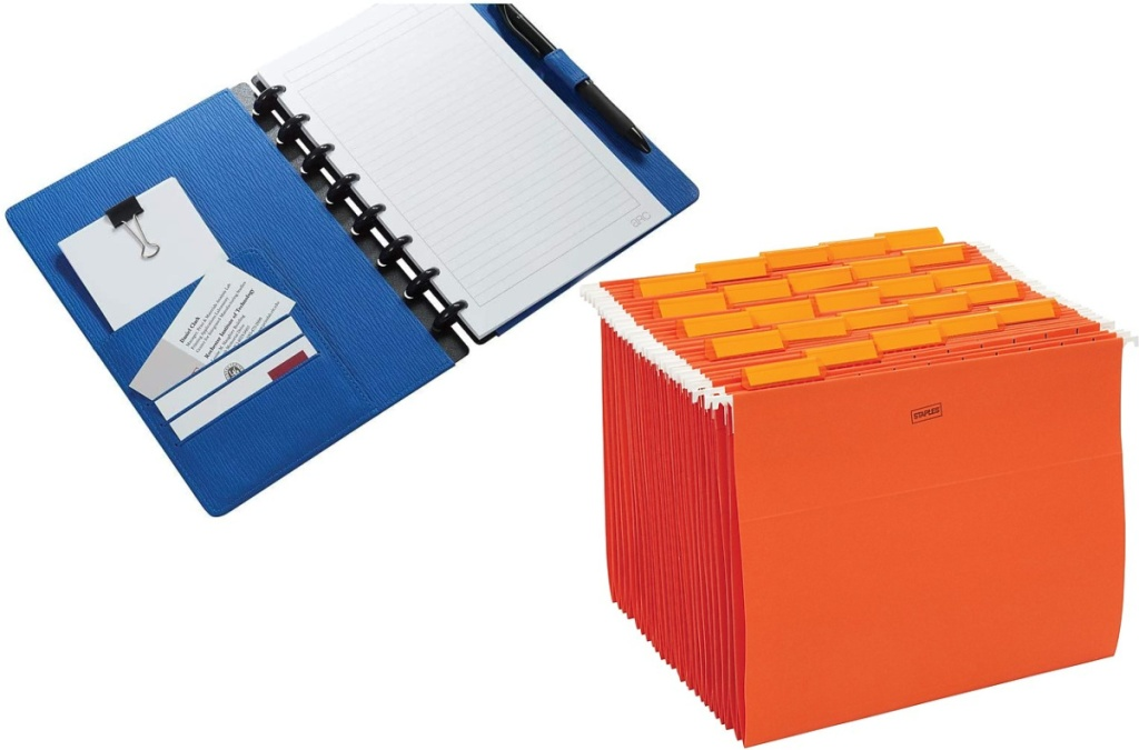 Arc Customizable Notebook and 25 count orange hanging file folders
