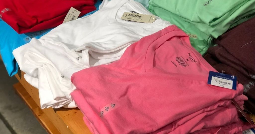display of women's tees on a table