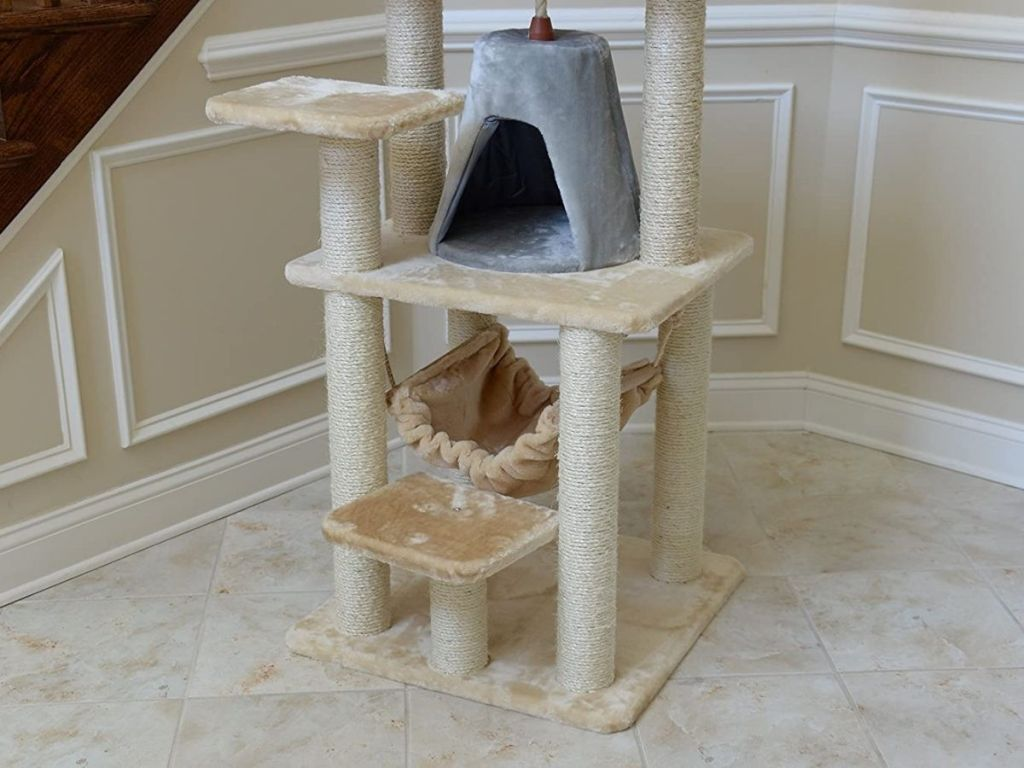 bottom of cat tree condo with hammock