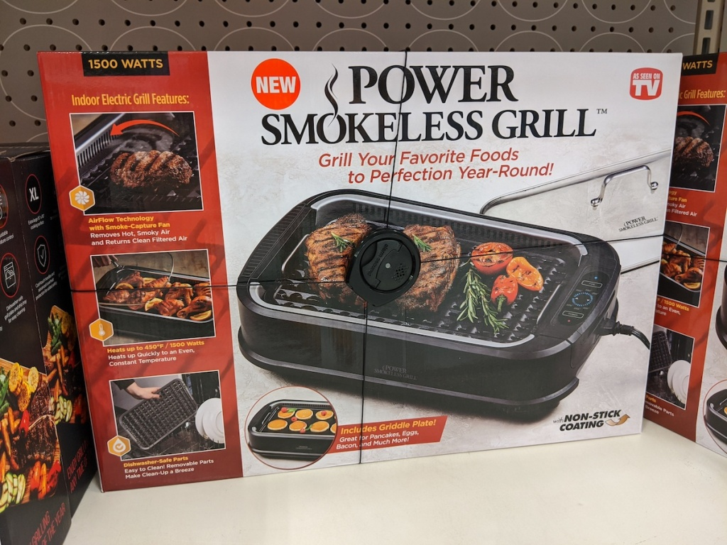 box of As Seen on TV Smokeless Indoor Grill on shelf at target