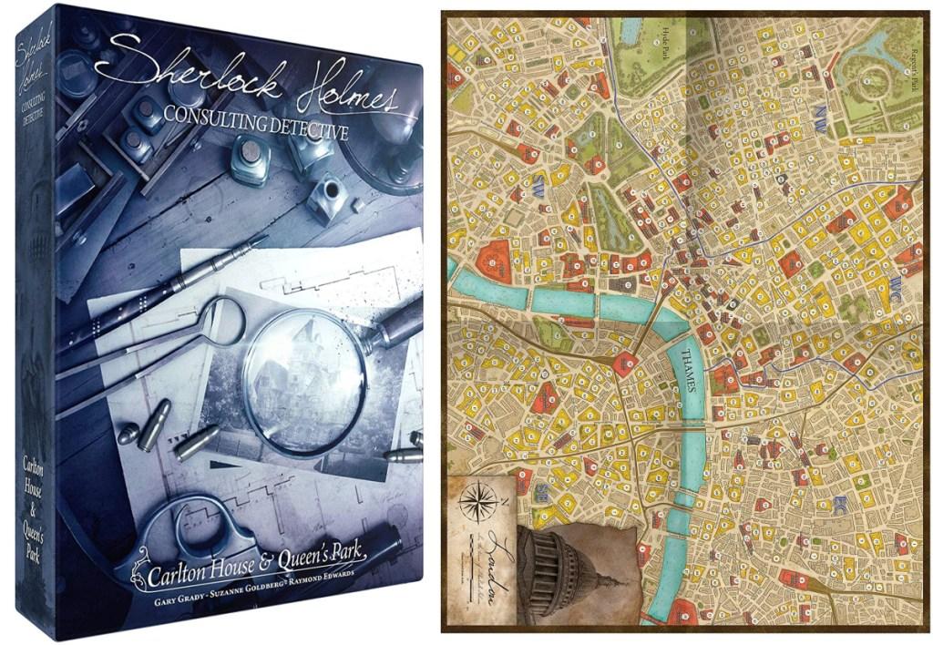 Sherlock Holmes Board Game Box and game board