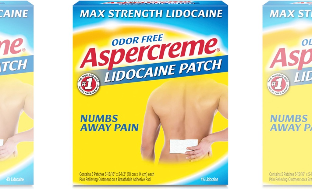 yellow and blue box of aspercreme pain relief patches