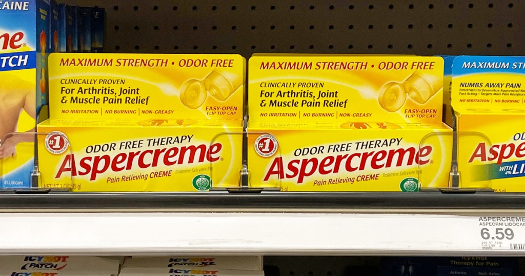 yellow boxes of aspercreme pain relief creme on Target shelf