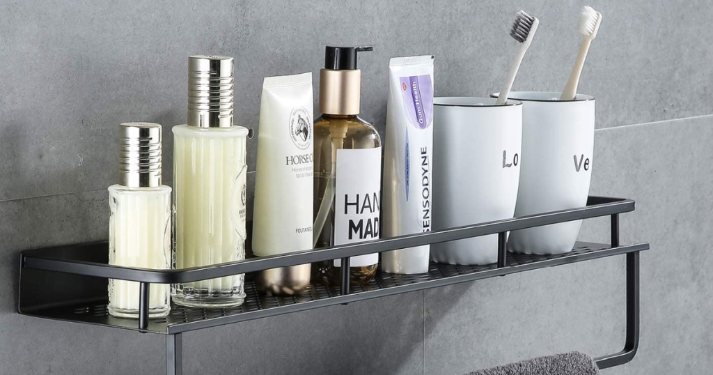 Shower caddy rack with beauty products