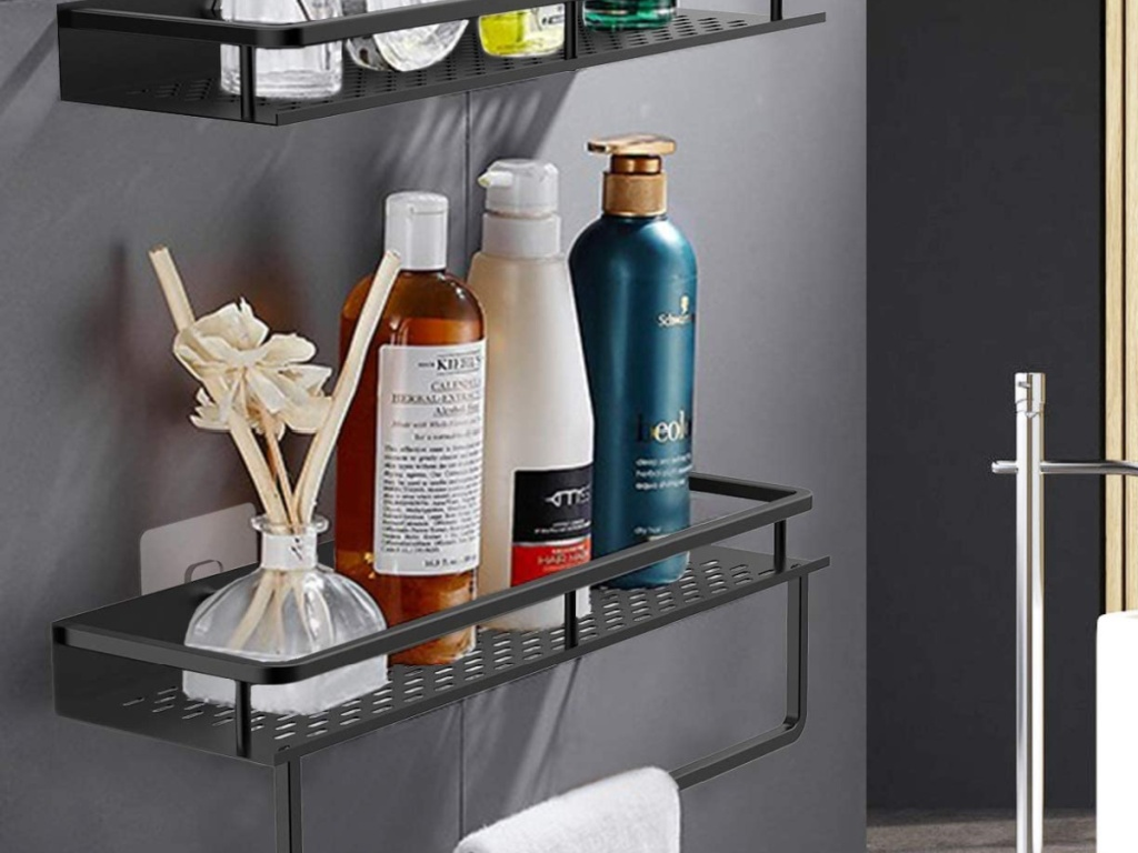 shower caddy shelf and towel hanger in bathroom
