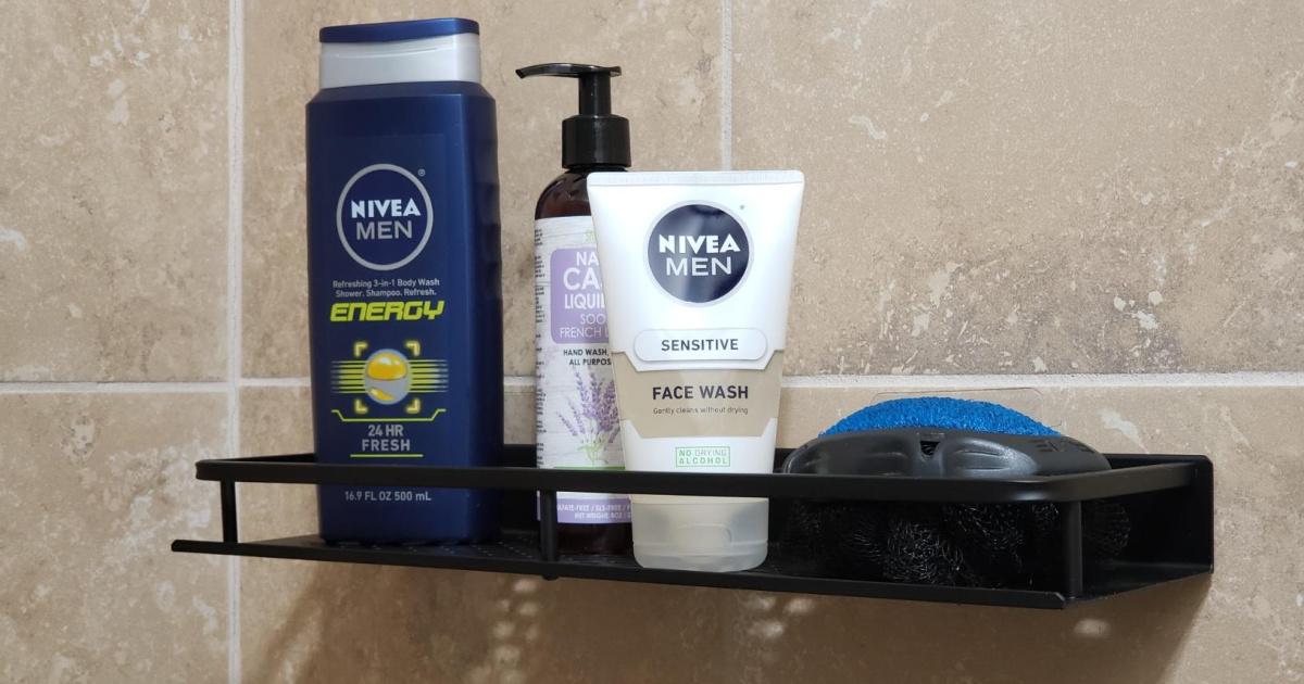 black shower shelf holding Nivea mens items