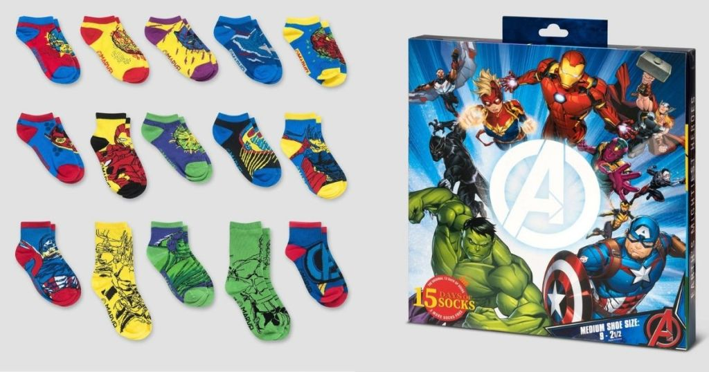 Avengers kids socks and front of advent calendar