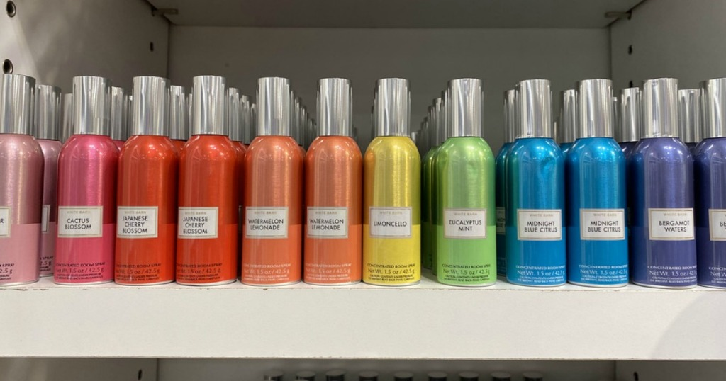 colorful room sprays at bath & body works