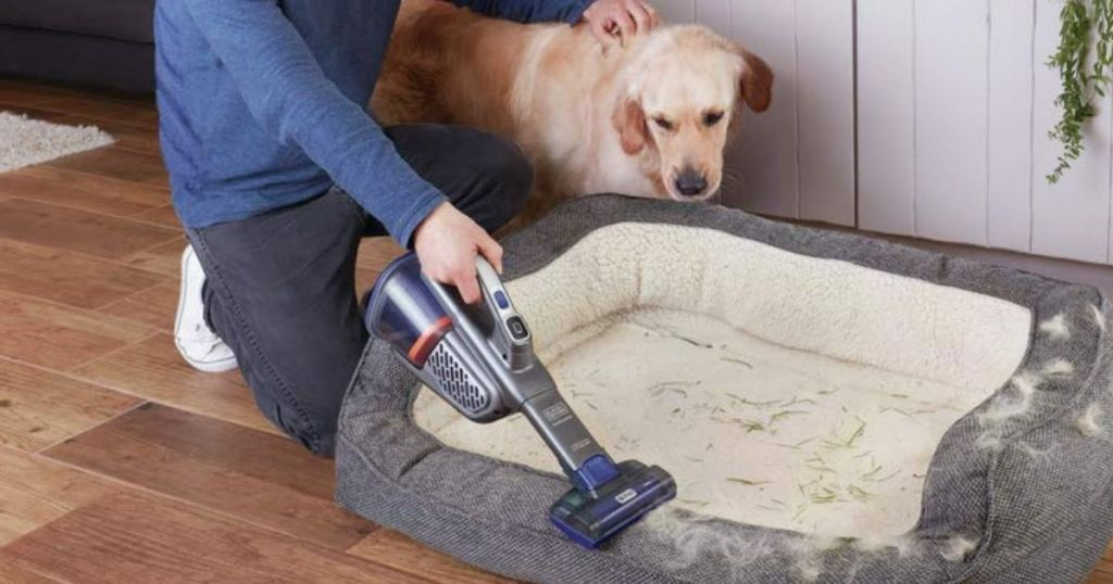 man using BLACK+DECKER Dustbuster Handheld Vacuum Pets AdvanceClean+ to vacuum pet hair off of a bed with a golden retriever next to him