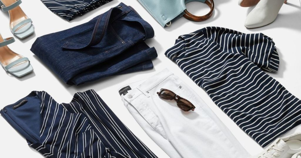 flat lay of men's and women's apparel