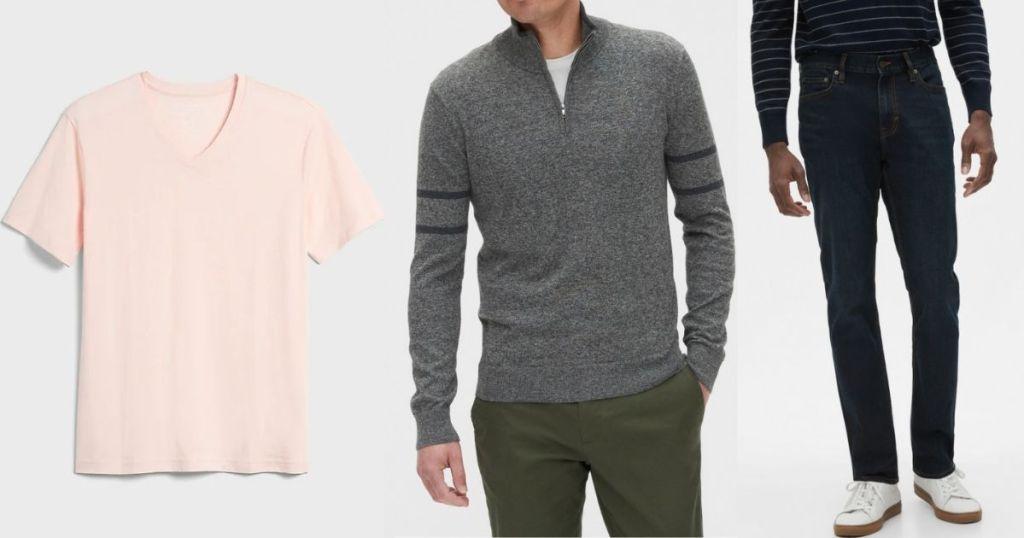 men's shirt, sweater and pants