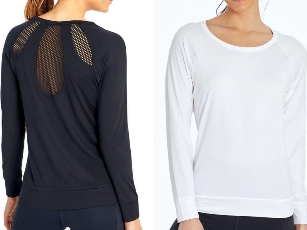 Two women wearing mesh back tops
