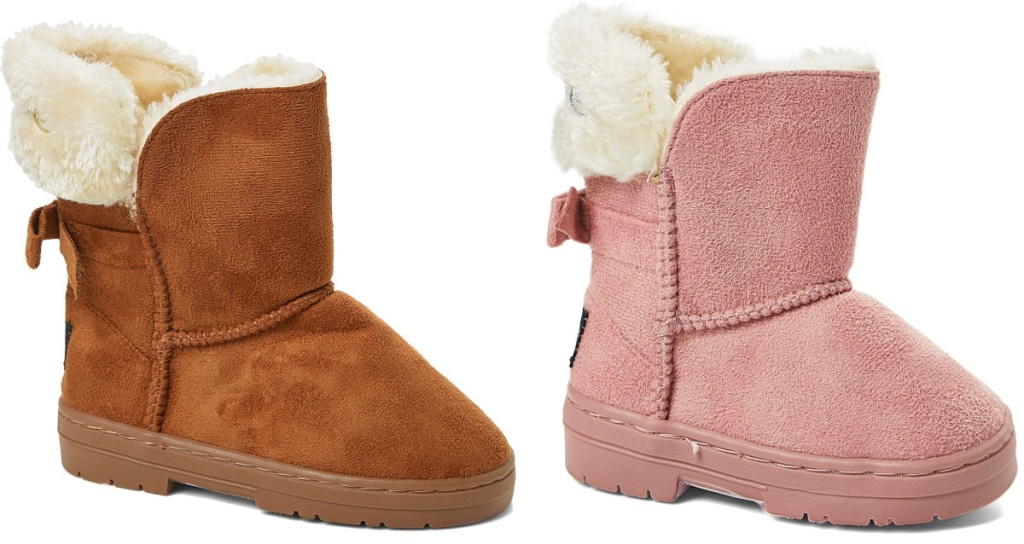 2 pairs of little girls shearling boots with bows on the back