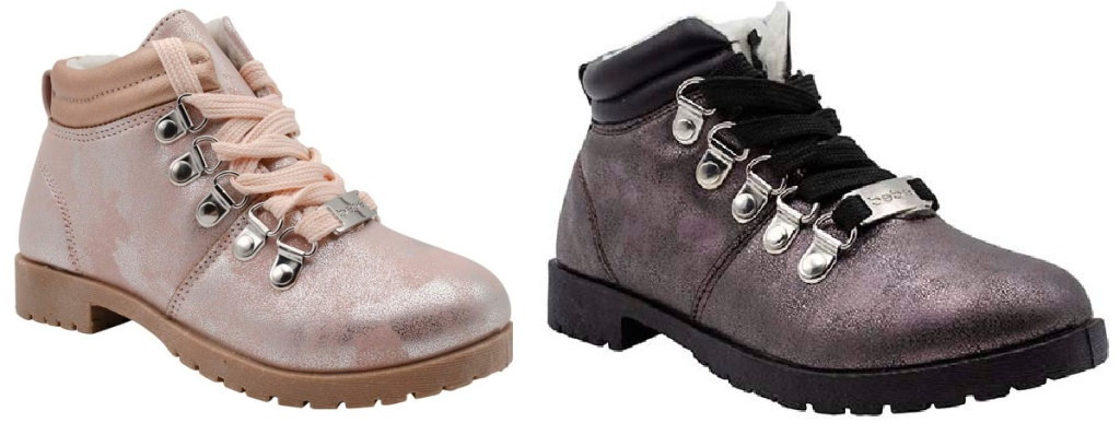 two pairs of girls metallic colored hiking boots