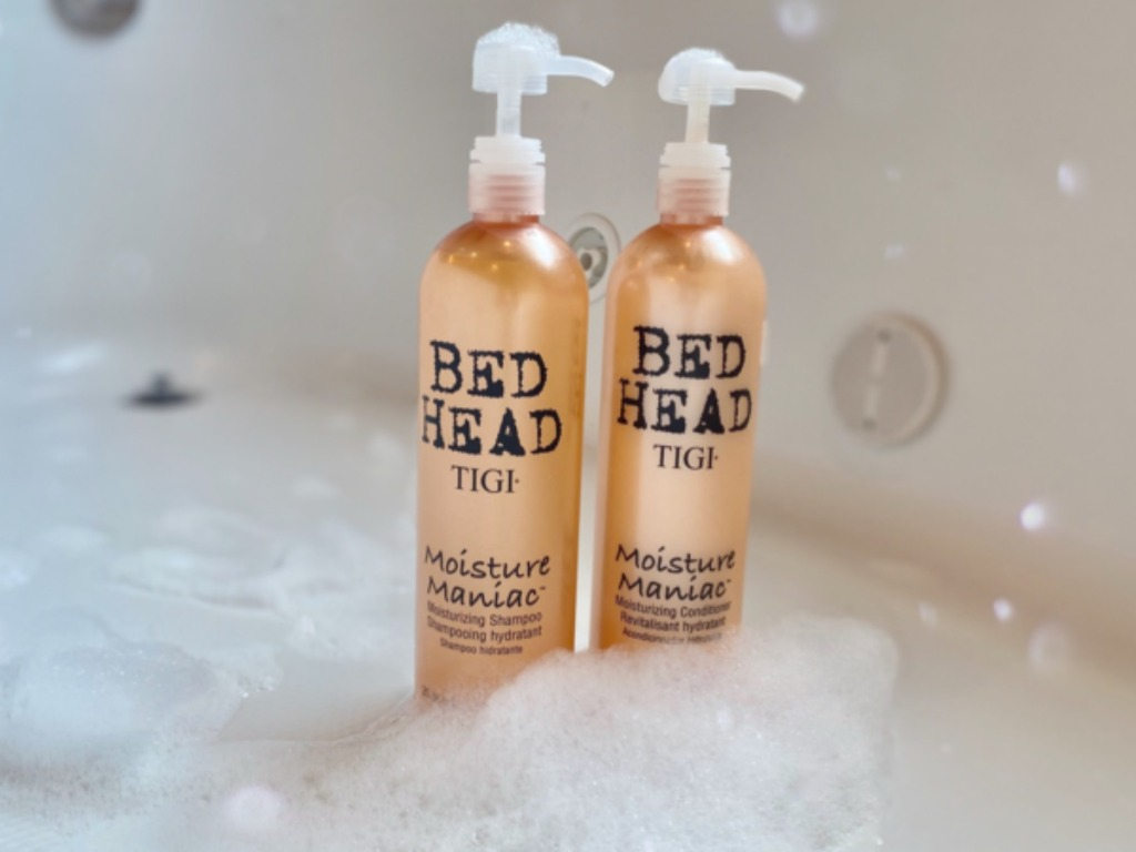 Bed head shampoo & conditioner with bubbles in a bath