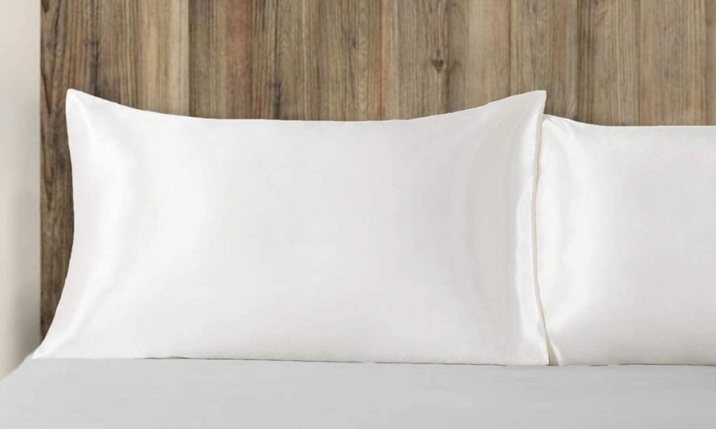 bed with two pillows on it