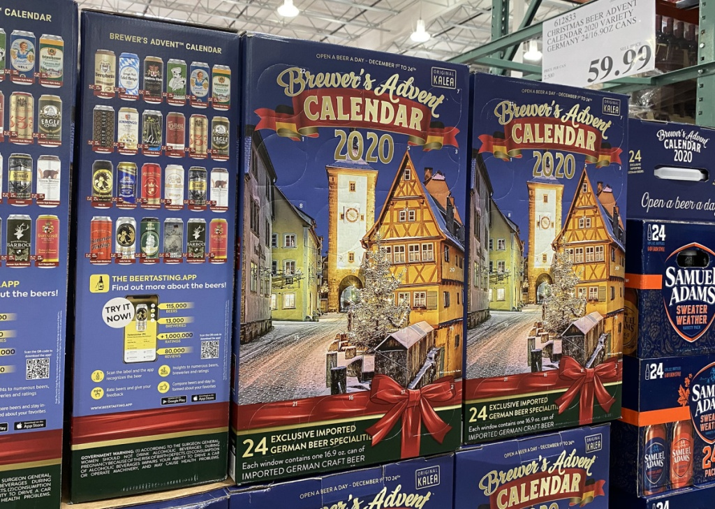 multiple boxes of beer advent calendars on a costco pallet in store