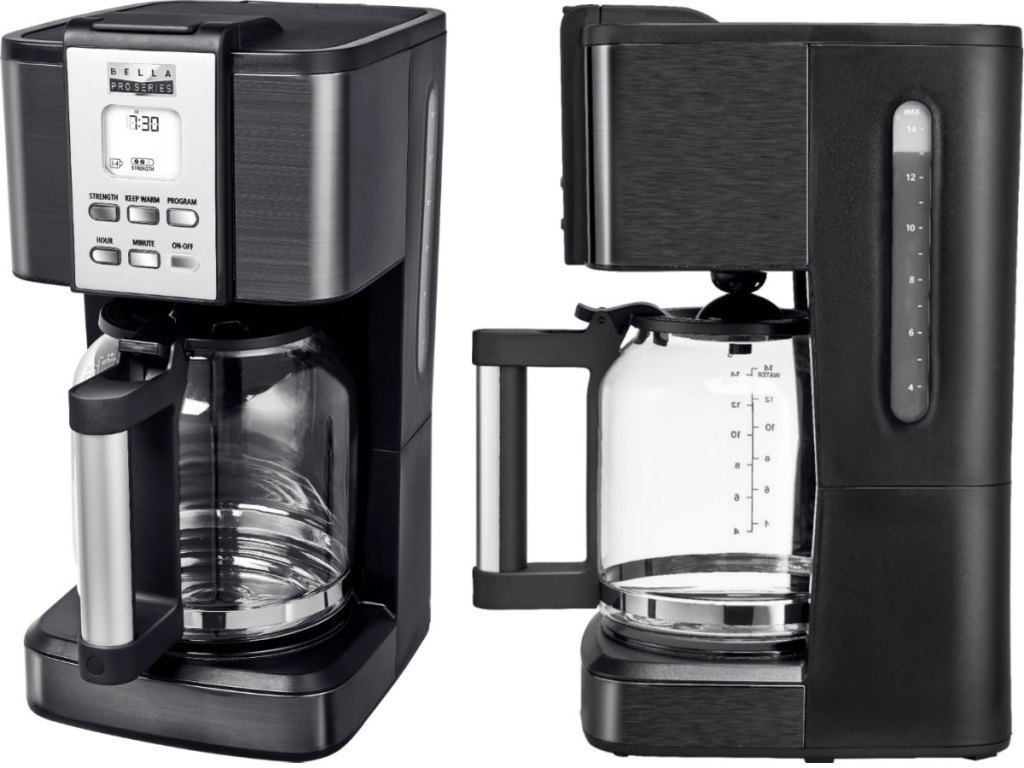 front and side views of a black stainless steel 14-cup coffee maker