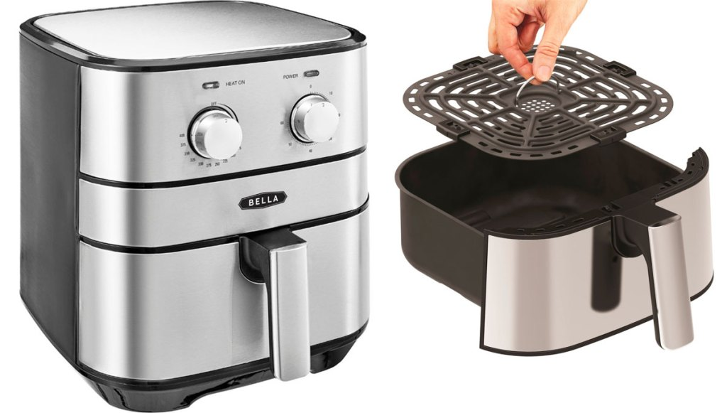 stainless steel air fryer with two adjustment knobs and basket with removable rack