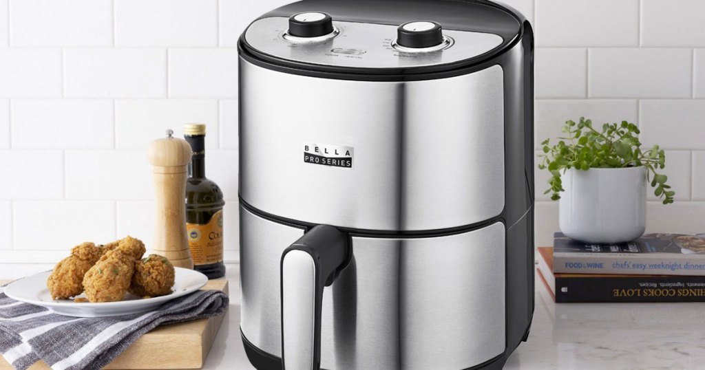 stainless steel and black bella air fryer on kitchen counter