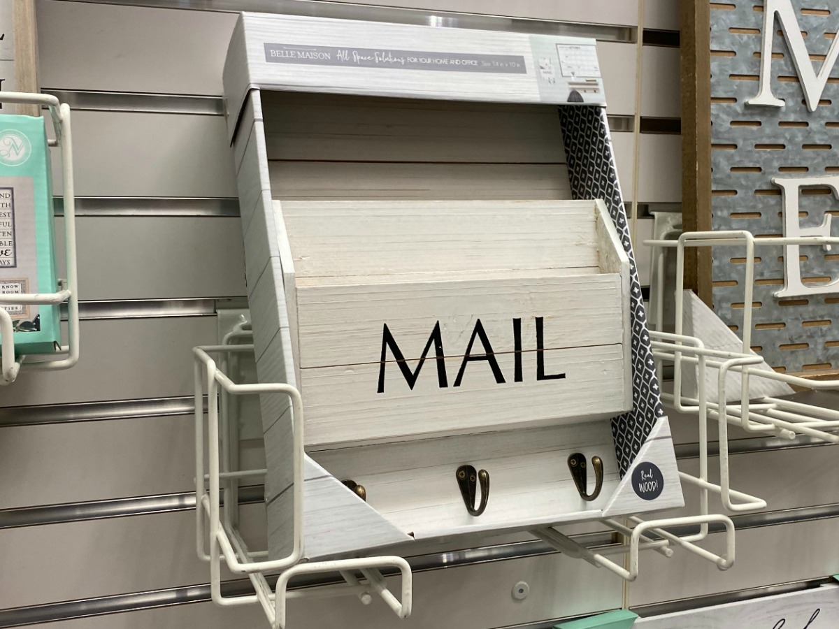 White farmhouse style mailbox indoor decor on display in-store