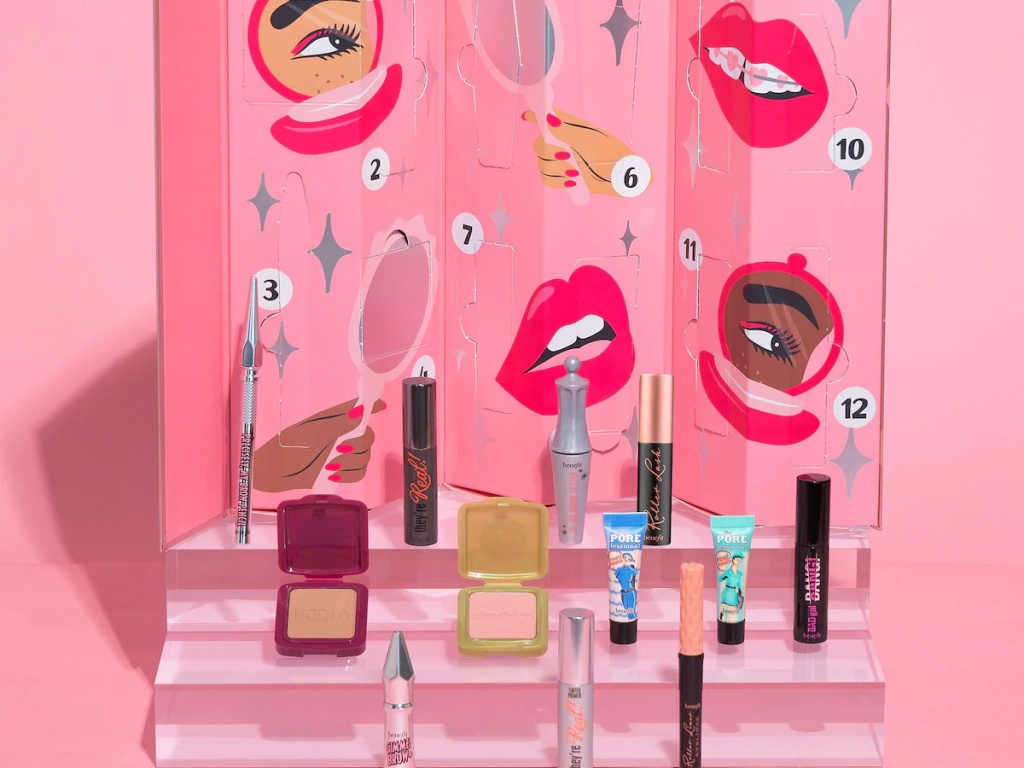 Benefit Cosmetics Advent Calendar, three makeup products, pink background