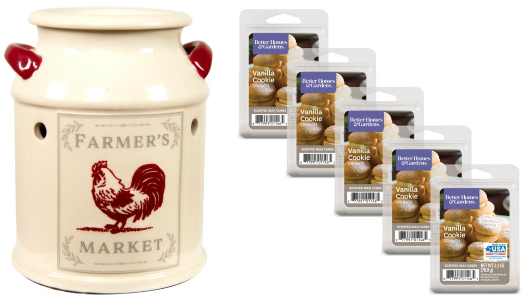 Farmhouse themed wax warmer with cookie scented wax melts