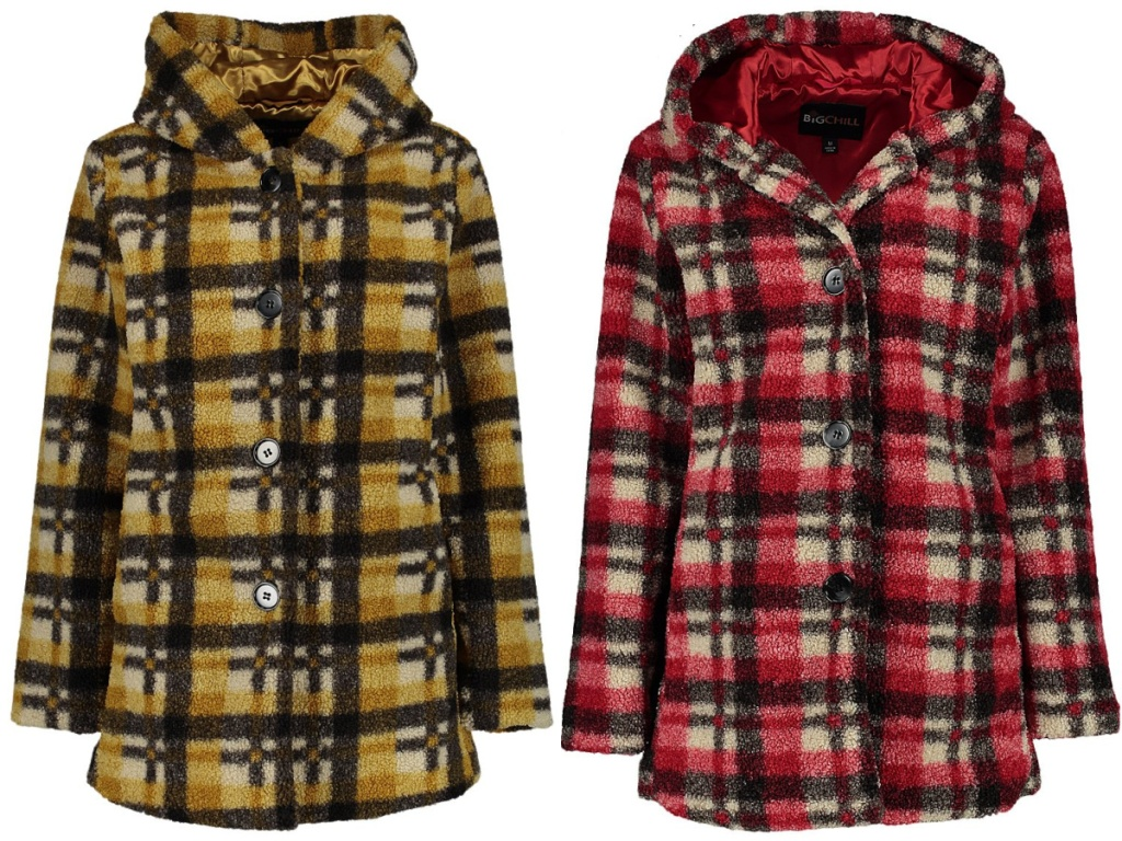 yellow plaid winter coat and red plaid winter coat