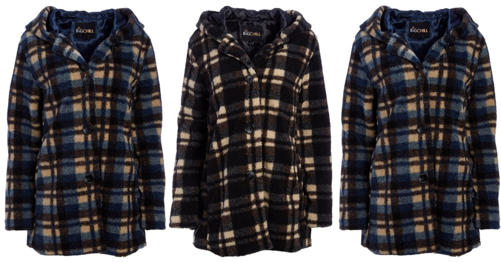 black and plaid winter coat and two blue plaid winter coats