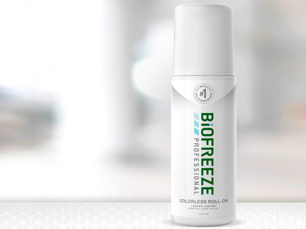 Biofreeze Pain Relief Product sitting on a counter