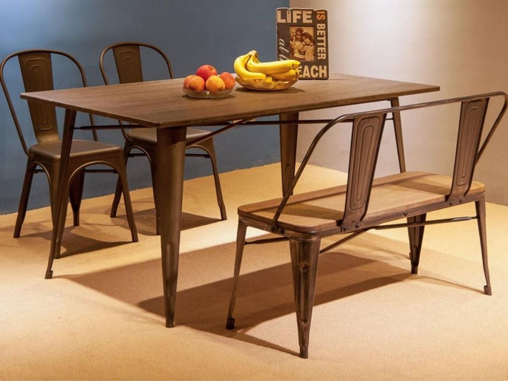 dining room table with chairs and a bench
