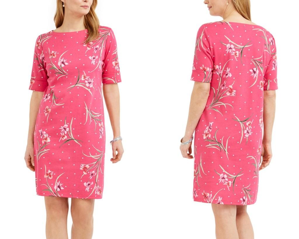 karen scott boat dress pink floral