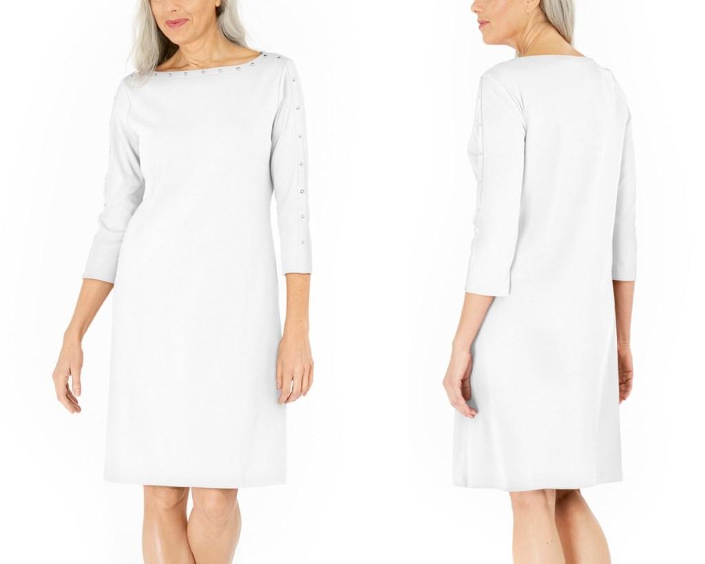 karen scott dresses white studded