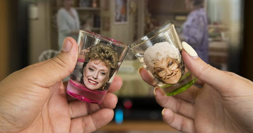 golden girls shot glass game hands toasting