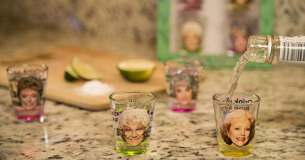 golden girls shot glasses four with bottle pouring drink
