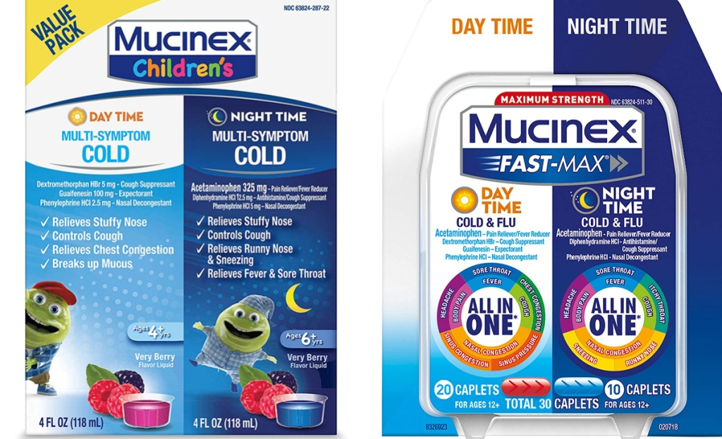 mucinex childrens and fast max side by side
