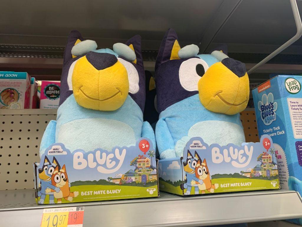 Bluey jumbo plush on shelf at Walmart