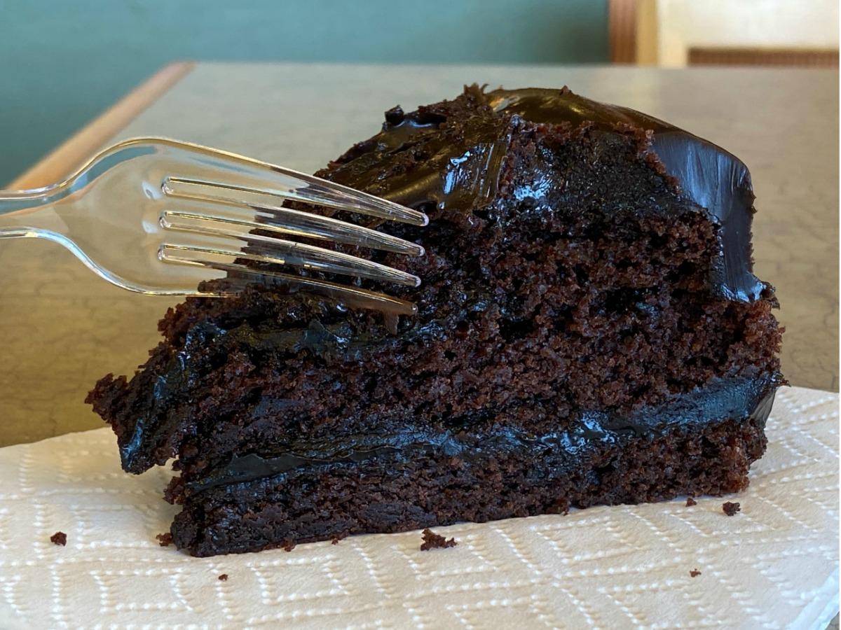 Large piece of chocolate cake