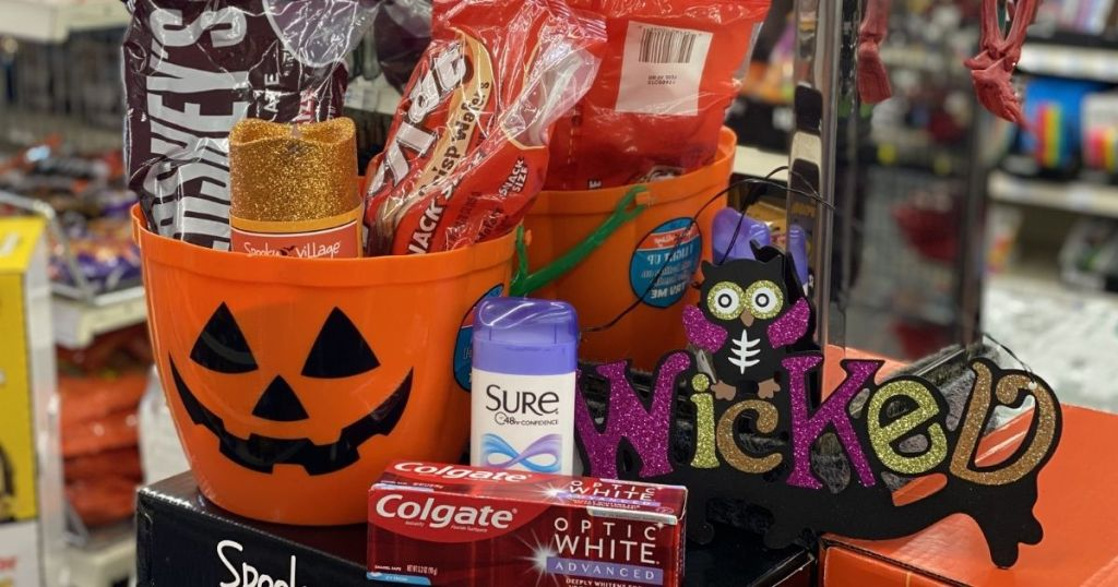 candy bucket, deodorant, toothpaste and candy