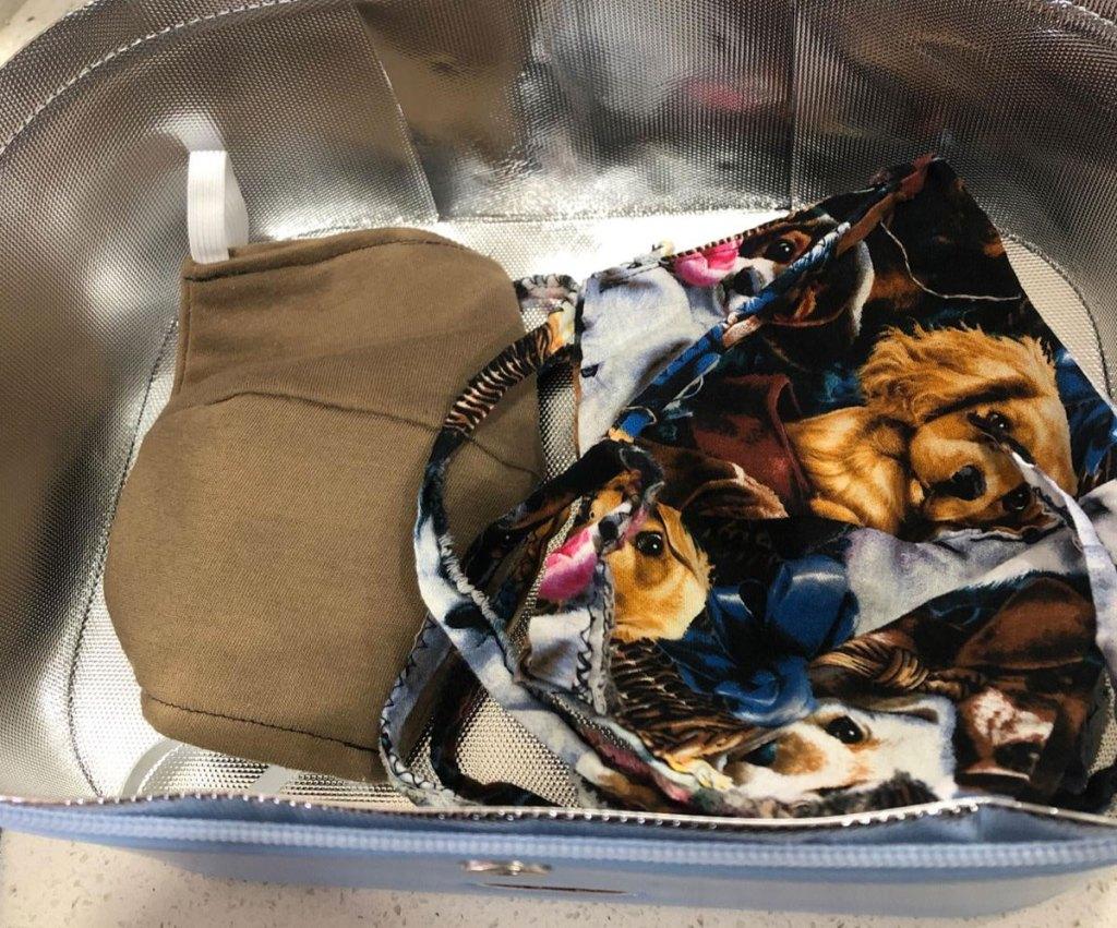 inside view of UV sanitizer bag with face masks inside